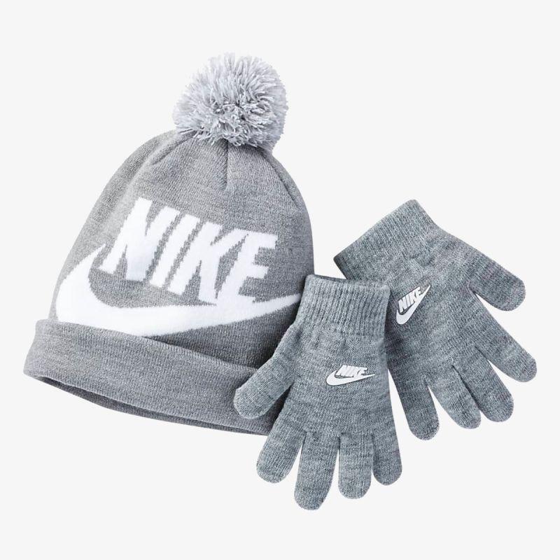 NIKE Swoosh Pom Beanie and Gloves Set