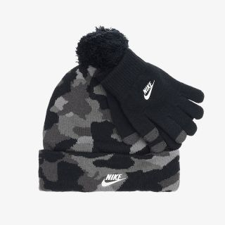NIKE Camo Print Beanie and Gloves Set