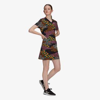 adidas FARM PRINT 3-STRIPES V-NECK COTTON DRESS