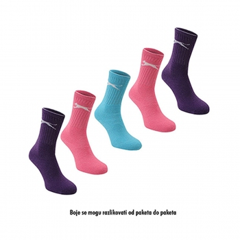 SLAZENGER 5PK CREW SOCK00 BRIGHT ASST LADIES 4-8